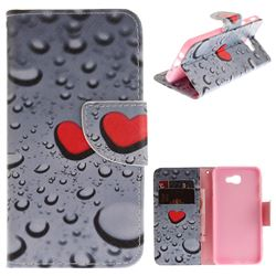 Heart Raindrop PU Leather Wallet Case for Samsung Galaxy J5 Prime