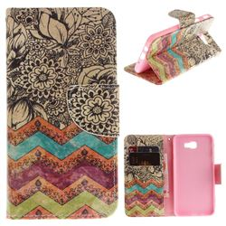Wave Flower PU Leather Wallet Case for Samsung Galaxy J5 Prime