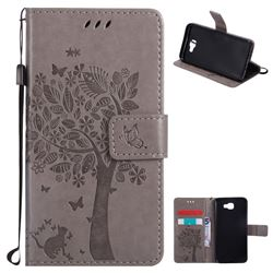 Embossing Butterfly Tree Leather Wallet Case for Samsung Galaxy J5 Prime - Grey