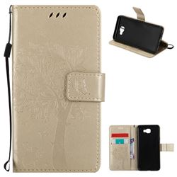 Embossing Butterfly Tree Leather Wallet Case for Samsung Galaxy J5 Prime - Champagne
