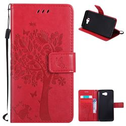 Embossing Butterfly Tree Leather Wallet Case for Samsung Galaxy J5 Prime - Red