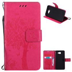 Embossing Butterfly Tree Leather Wallet Case for Samsung Galaxy J5 Prime - Rose