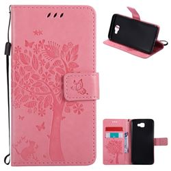 Embossing Butterfly Tree Leather Wallet Case for Samsung Galaxy J5 Prime - Pink