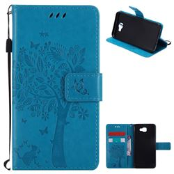 Embossing Butterfly Tree Leather Wallet Case for Samsung Galaxy J5 Prime - Blue