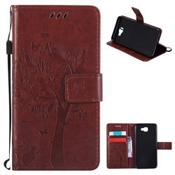 Embossing Butterfly Tree Leather Wallet Case for Samsung Galaxy J5 Prime - Brown