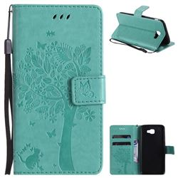 Embossing Butterfly Tree Leather Wallet Case for Samsung Galaxy J5 Prime - Cyan