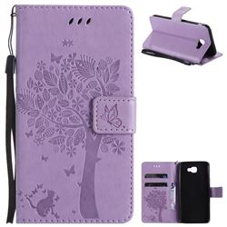 Embossing Butterfly Tree Leather Wallet Case for Samsung Galaxy J5 Prime - Violet