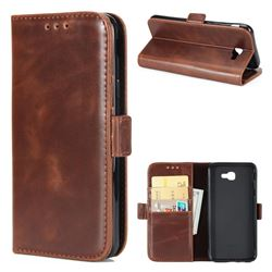 Luxury Crazy Horse PU Leather Wallet Case for Samsung Galaxy J5 Prime - Coffee