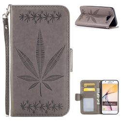 Intricate Embossing Maple Leather Wallet Case for Samsung Galaxy J5 Prime - Gray