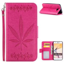 Intricate Embossing Maple Leather Wallet Case for Samsung Galaxy J5 Prime - Rose