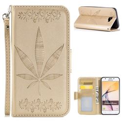 Intricate Embossing Maple Leather Wallet Case for Samsung Galaxy J5 Prime - Champagne