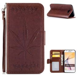 Intricate Embossing Maple Leather Wallet Case for Samsung Galaxy J5 Prime - Brown