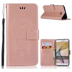Intricate Embossing Owl Campanula Leather Wallet Case for Samsung Galaxy J5 Prime - Rose Gold