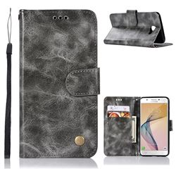 Luxury Retro Leather Wallet Case for Samsung Galaxy J5 Prime - Gray
