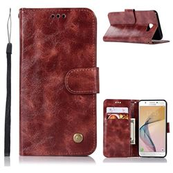 Luxury Retro Leather Wallet Case for Samsung Galaxy J5 Prime - Wine Red