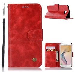 Luxury Retro Leather Wallet Case for Samsung Galaxy J5 Prime - Red