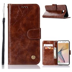 Luxury Retro Leather Wallet Case for Samsung Galaxy J5 Prime - Brown