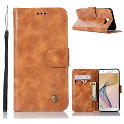 Luxury Retro Leather Wallet Case for Samsung Galaxy J5 Prime - Golden