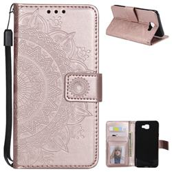 Intricate Embossing Datura Leather Wallet Case for Samsung Galaxy J5 Prime - Rose Gold