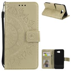 Intricate Embossing Datura Leather Wallet Case for Samsung Galaxy J5 Prime - Golden