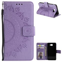 Intricate Embossing Datura Leather Wallet Case for Samsung Galaxy J5 Prime - Purple
