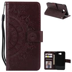 Intricate Embossing Datura Leather Wallet Case for Samsung Galaxy J5 Prime - Brown