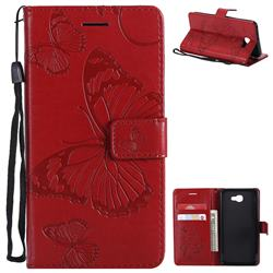 Embossing 3D Butterfly Leather Wallet Case for Samsung Galaxy J5 Prime - Red