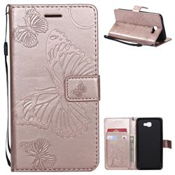 Embossing 3D Butterfly Leather Wallet Case for Samsung Galaxy J5 Prime - Rose Gold
