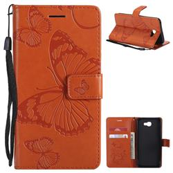 Embossing 3D Butterfly Leather Wallet Case for Samsung Galaxy J5 Prime - Orange