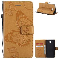 Embossing 3D Butterfly Leather Wallet Case for Samsung Galaxy J5 Prime - Yellow
