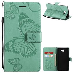 Embossing 3D Butterfly Leather Wallet Case for Samsung Galaxy J5 Prime - Green