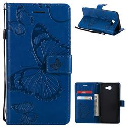 Embossing 3D Butterfly Leather Wallet Case for Samsung Galaxy J5 Prime - Blue