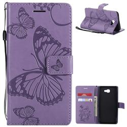 Embossing 3D Butterfly Leather Wallet Case for Samsung Galaxy J5 Prime - Purple