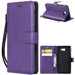 Retro Greek Classic Smooth PU Leather Wallet Phone Case for Samsung Galaxy J5 Prime - Purple