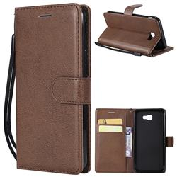 Retro Greek Classic Smooth PU Leather Wallet Phone Case for Samsung Galaxy J5 Prime - Brown