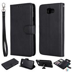 Retro Greek Detachable Magnetic PU Leather Wallet Phone Case for Samsung Galaxy J5 Prime - Black