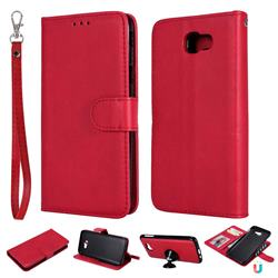 Retro Greek Detachable Magnetic PU Leather Wallet Phone Case for Samsung Galaxy J5 Prime - Red