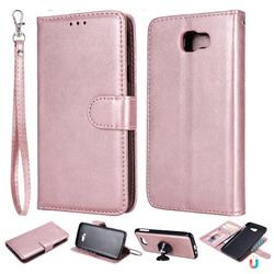 Retro Greek Detachable Magnetic PU Leather Wallet Phone Case for Samsung Galaxy J5 Prime - Rose Gold