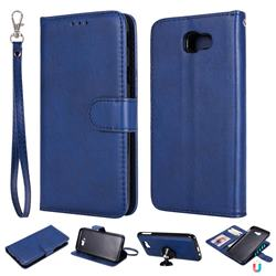 Retro Greek Detachable Magnetic PU Leather Wallet Phone Case for Samsung Galaxy J5 Prime - Blue