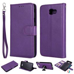 Retro Greek Detachable Magnetic PU Leather Wallet Phone Case for Samsung Galaxy J5 Prime - Purple
