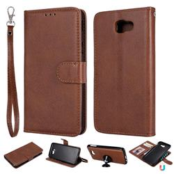 Retro Greek Detachable Magnetic PU Leather Wallet Phone Case for Samsung Galaxy J5 Prime - Brown