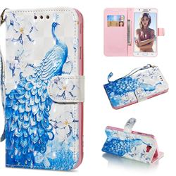 Blue Peacock 3D Painted Leather Wallet Phone Case for Samsung Galaxy J5 Prime