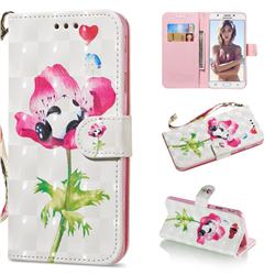 Flower Panda 3D Painted Leather Wallet Phone Case for Samsung Galaxy J5 Prime