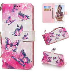 Pink Butterfly 3D Painted Leather Wallet Phone Case for Samsung Galaxy J5 Prime