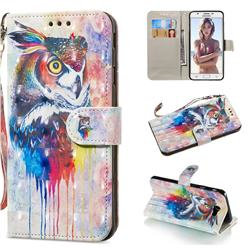 Watercolor Owl 3D Painted Leather Wallet Phone Case for Samsung Galaxy J5 Prime