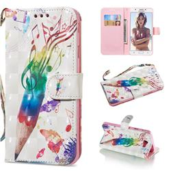 Music Pen 3D Painted Leather Wallet Phone Case for Samsung Galaxy J5 Prime