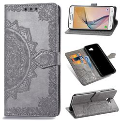 Embossing Imprint Mandala Flower Leather Wallet Case for Samsung Galaxy J5 Prime - Gray
