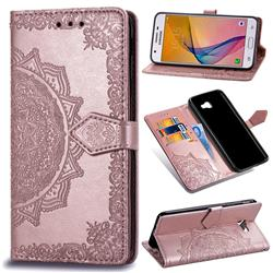 Embossing Imprint Mandala Flower Leather Wallet Case for Samsung Galaxy J5 Prime - Rose Gold