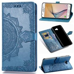 Embossing Imprint Mandala Flower Leather Wallet Case for Samsung Galaxy J5 Prime - Blue