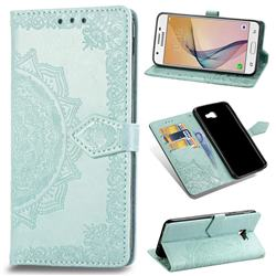 Embossing Imprint Mandala Flower Leather Wallet Case for Samsung Galaxy J5 Prime - Green